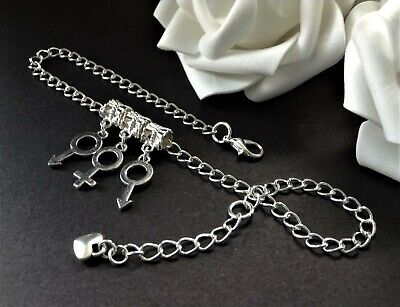 ~ Mfm Male Female Male Symbol Charms ~ Hot Wife ~ Curb Chain Anklet ~