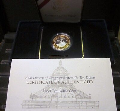 2000-W $10 Gold & Platinum ✪ Library Of Congress ✪ Bimetallic Box Coa ◢Trusted◣