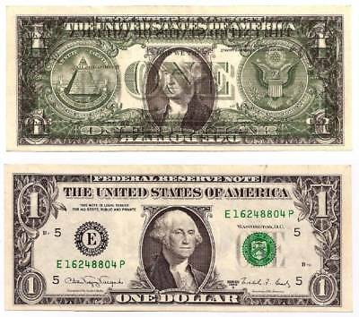 1988A $1 Richmond Frn, 100% Front To Back Offset Error.