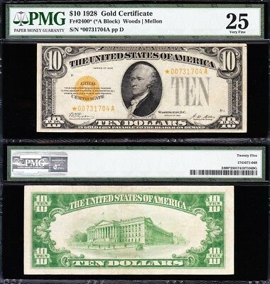 Awesome *RARE* Crisp VF+ STAR NOTE 1928 $10 GOLD CERTIFICATE! PMG 25! *00731704A