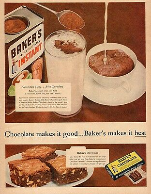 1954 vintage AD BAKER'S CHOCOLATE & Instant Hot Chocolate Mix 071417