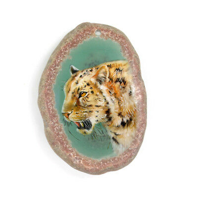 New! Pinted Tiger Crystal Druzy Agate Gemstone Pendant Necklace H1705 0065