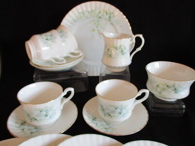 Royal Stafford Bone China pretty blue Blossom time Tea set for 4