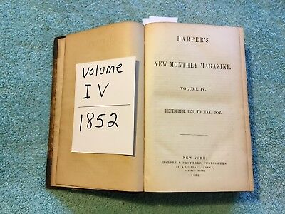 ANTIQUE Harpers Weekly VOL. lV 1851 BOUND BOOK 1/2 LEATHER Boston Tea Party RARE