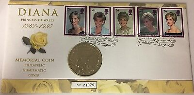 1999 - 5 Pounds Coin And Stamps Commemorating Princess Diana #21326
