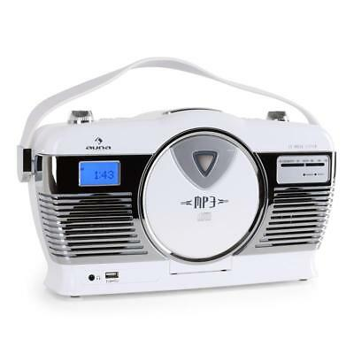 Auna Classic White Portable Cd Player Usb Vintage Stereo Speaker System Compact