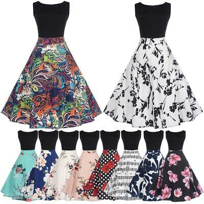 Retro Women Sleeveless Floral Print Swing Pinup Housewife Rockabilly Party Dress