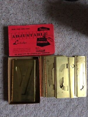 Vintage Reese's Adjustable 4 Inch Brass Stencils Lockedge Letters A-Z Complete