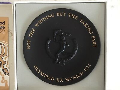 Wedgewood black basalt commemorative plate Munich Olympic Games 1972 boxed