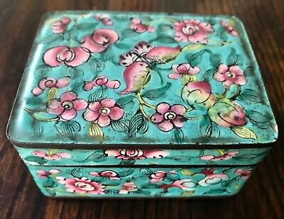 Antique Chinese Canton Enamel Butterfly Trinket Box