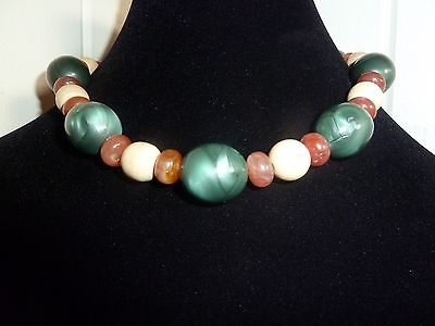 Vintage Multi Colored Chunky Beaded Necklace