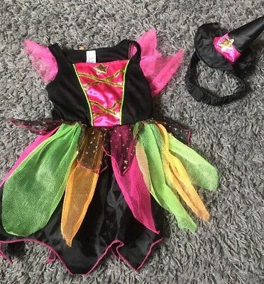 Baby Girls Halloween Witch Fancy Dress Outfit Aged 9-12 Months