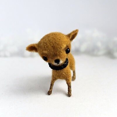 Handmade felted Chihuahua puppy, artist wool dollhouse dog miniature, 2in.