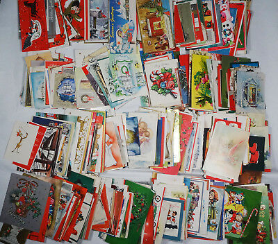 20s-60s Vintage Christmas Cards, HUGE Card LOT of 778 MISC Themes, Snowman etc