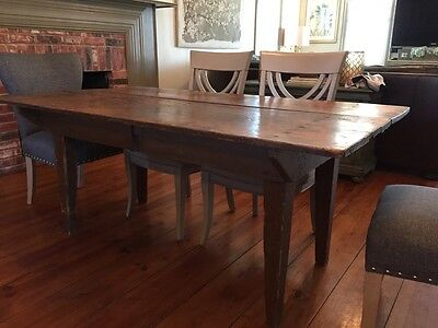 Mid 19th Century 1800's Antique Early American Wooden Farm Scrub Top Table