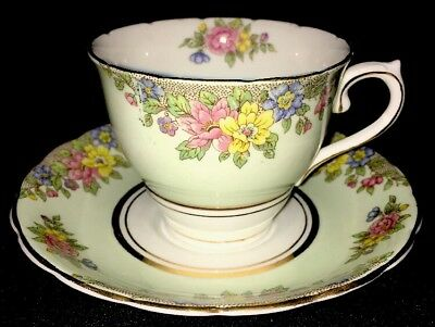 Colclough Tea Cup & Saucer Soft Green with Pink Blue Yellow flowers Gold Trim