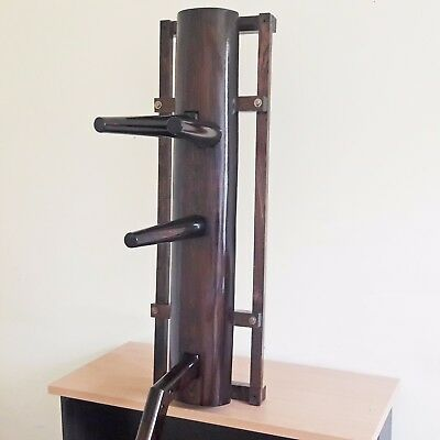 Wall-mounted compact wooden dummy for training Wing Chun