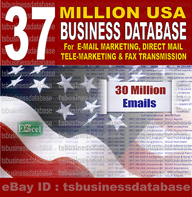 37 MILLION USA DATABASE US Fax US Mailing Lists Marketing List US Email List