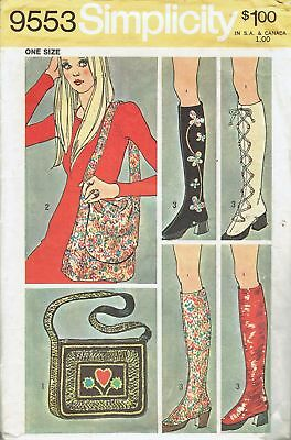 Vintage 1971 Simplicity 9553 Colorful Boots Spats Upgrades +2 Bags Pattern