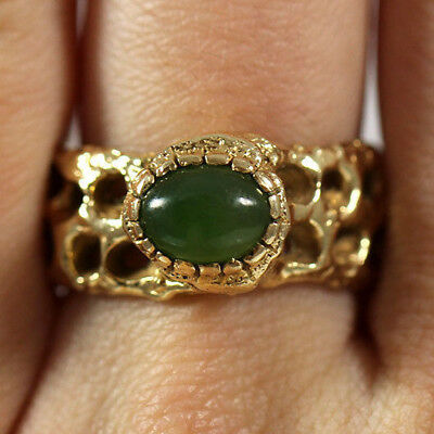 Vintage Jadeite Jade Cabochon 14K Yellow Gold Thick Branch Carved Ring Size 7.5