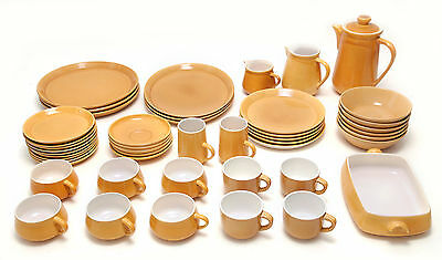 HONITON POTTERY WARE Yellow/Orange crockery plates bowls saucers cups jugs