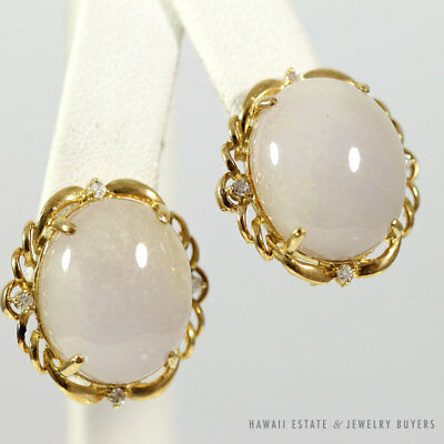 Vintage Lavender Jadeite Jade Cabochon & Diamond 14K Yellow Gold Large French Cl