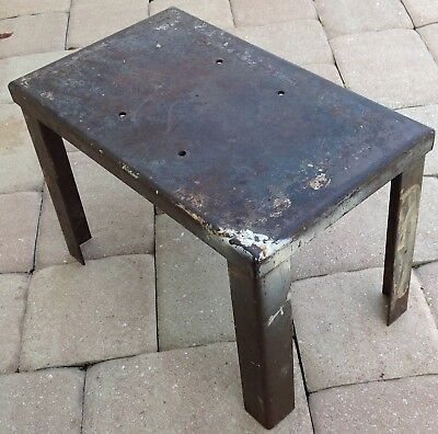 Industrial Stool authentic early Tailor shop step Steampunk steel antique heavy