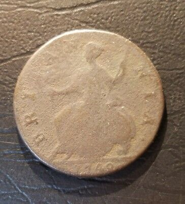 1740 George II British US Colonial Halfpenny Copper Coin.