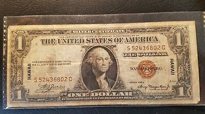 RARE 1935A $1 HAWAII One Dollar Bill Note, Circulated, 1935 A