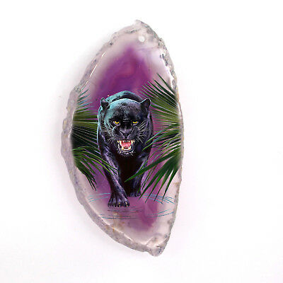 New! Pinted Black Bear Crystal Druzy Agate  Pendant Necklace H1705 0060