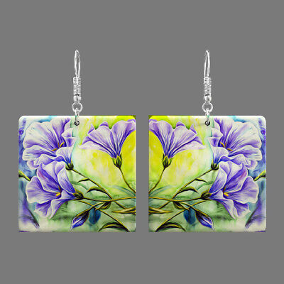 Natural Mother of Pearl Shell Flower Earrings Square Drop Jewelry S1706 0088