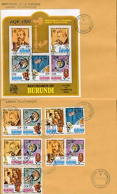Burundi s´sheet +set 2 FDC Graham Bell telephone ge43-2