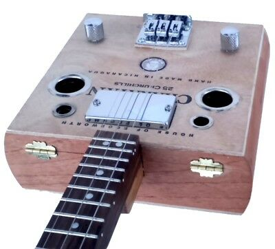 """CHARATAN"" 3 STRING CIGAR BOX GUITAR ""Hollow Body"" ELECTRIC-ACOUSTIC!"
