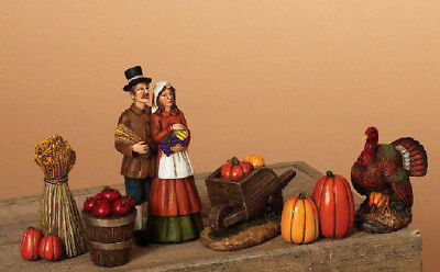 6 Piece Hand Painted Resin Pilgrim Figurine Set Thanksgiving Tabletop Decor