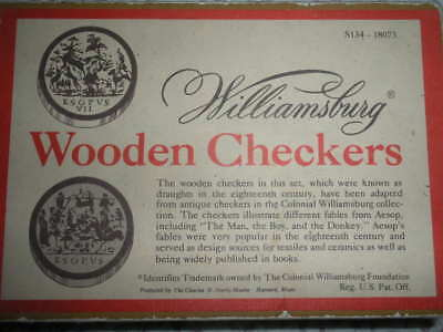 Vtg Colonial Williamsburg Wood Checkers Set, Box Aesop'S Fables