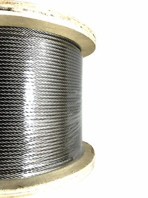 "1/8"" 7x19 Stainless Steel Aircraft Cable Type 316 Marine Grade 500ft reel"