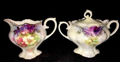 RS Prussia Sugar Bowl with Lid and Creamer