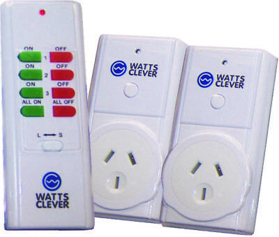 'Easy Off' Mains Power Point 2-Pack & Remote Control - Watts Clever