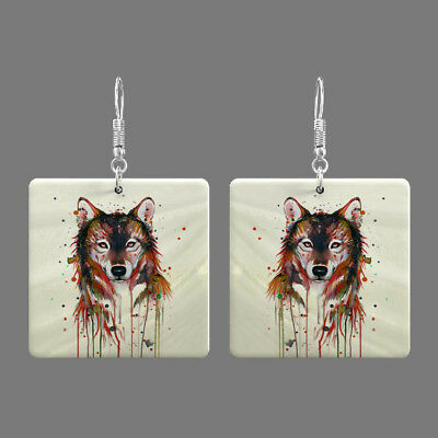 Natural Mother of Pearl Shell Wolf Earrings Square Drop Jewelry S1706 0008