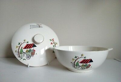 "Retro Alfred Meakin ""Boulevard/Fruit Seller"" Covered Serving Dish"
