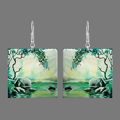 Natural Mother of Pearl Shell Scenery Earrings Square Drop Jewelry S1706 0098
