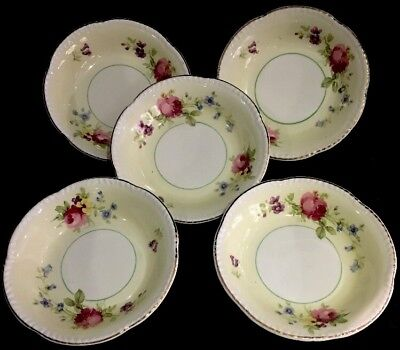 Woods Ivory Ware 5 Small Bowls  Yellow w/ Gold Trim w Pink Blue Purple Flowers