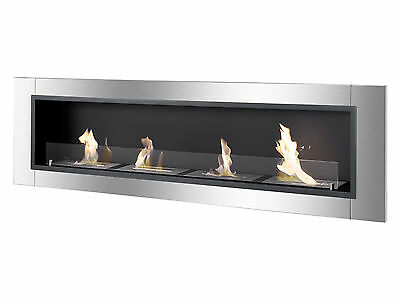 Accalia - Ignis Bio Ethanol Fireplace, Ventless Recessed Fireplace with Glass