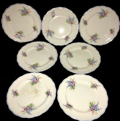 Woods Ivory Ware 7 Side Plate Blue Trim with Pink Blue Flowers