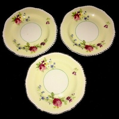 Woods Ivory Ware 3 Side Plates Yellow w/ Gold Trim with Pink Blue Purple Flowers