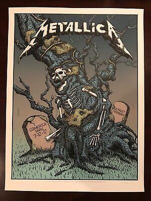 METALLICA World Wired Tour 2017 Concert Poster Detroit VIP Edition AP Signed