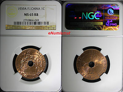 French Indo China,Colonial Vietnam Bronze 1939-A 1 Cent NGC MS65 RB RED KM12.1
