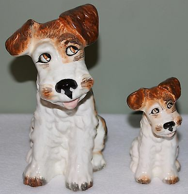 "Pair of Vintage SylvaC Sitting Terrier Dogs 1378 & 1379 Made in England 8"" & 5"""