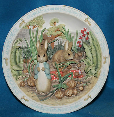 A Pocket Full of Onions Peter Rabbit Benjamin Bunny 3-D Musical Collector Plate