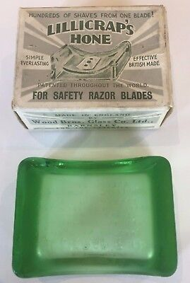 Antique Green Depression Glass Lillicrap's Hone In Original Box